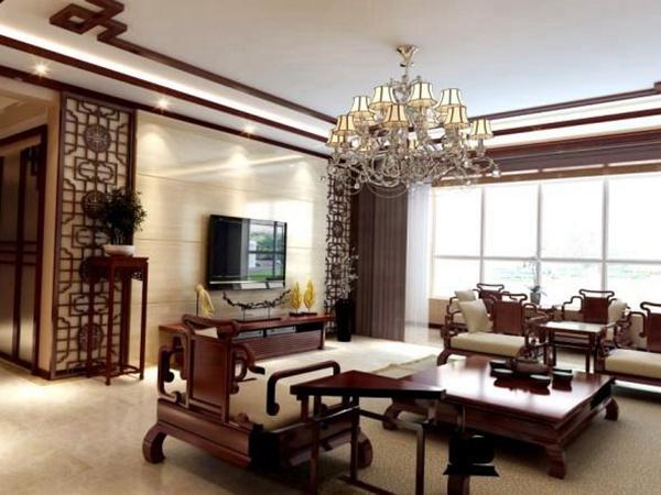 中式客厅地板瓷砖