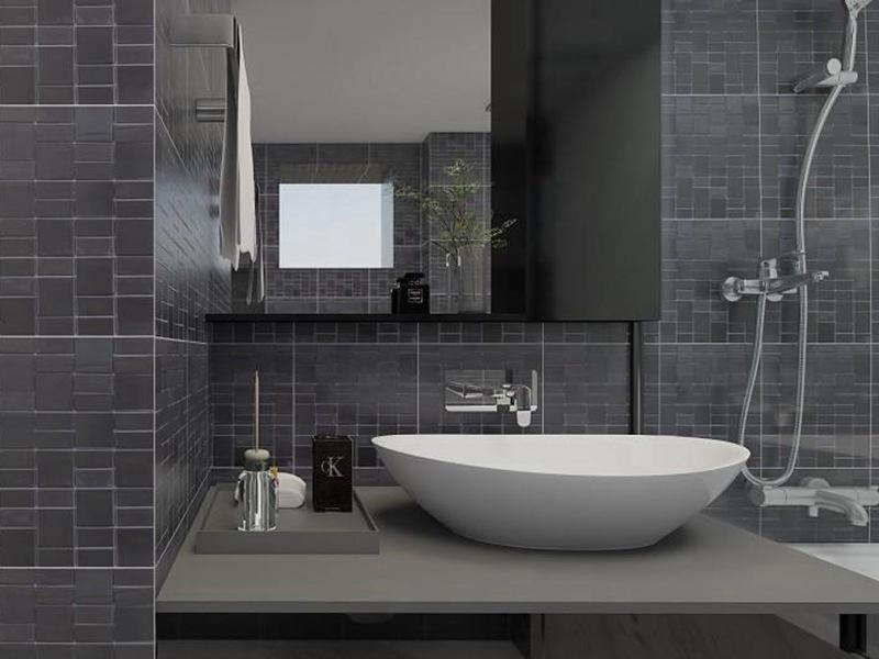 卫生间黑白灰瓷砖